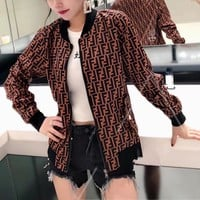 """Fendi"" Women Fashion Retro Multicolor F Letter Zip Cardigan Long Sleeve Jacket Coat"