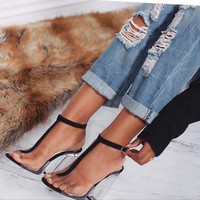 HOT !!!Women's Sandals 2017 Summer European Sexy Transparent Shoes High Heels Gladiator Sandals Women Black Gold Sandalias Mujer