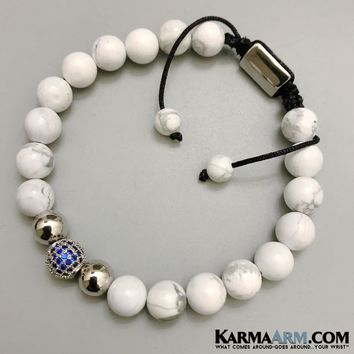 COMMUNICATION | White Turquoise | Sapphire CZ Pave | Adjustable Pull Tie Bracelet