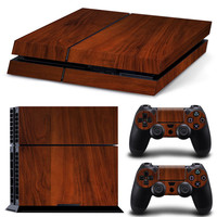 Pure Wooden Vinyl Decal PS4 Sticker Full Set Skins for Sony PlayStation 4 Console and 2 Controller Protective Cover Skins
