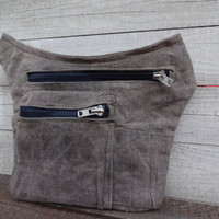 Waxed Canvas Hip Utility bag, Waxed Utility belt Bag, Travel Pouch, Sandy Gray Travel Pouch, Waist Bag