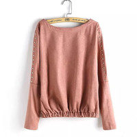 Beaded Sleeve Pleated Suede Sweater