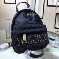 Moschino Fashion new rivets letter backpack bag Black