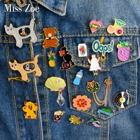 Cartoon Compilation Cat dog tiger bear rabbit Oops Vinyl Record shell Brooch Pin shirt Badge Jewelry Gift Surprise for Kids