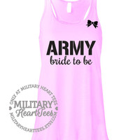 Custom Army Bride to Be Racerback Tank Top, Military Shirt for Wife, Fiance, Workout