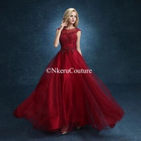 Bridal Red Wine Long Lace Embroidery Beadning Aline Banquet Party Prom Dress Plus Size Formal Dresses QW98