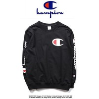 ONETOW Champion Casual Round Neck Letters Long Sleeve Letters Sweater