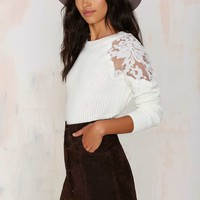 Nadia Organza Patch Sweater - White