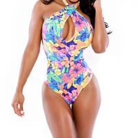 CrazyPomelo Floral Sexy One Piece Swimsuit - L