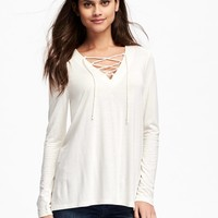 Lace-Up Swing Top for Women   Old Navy
