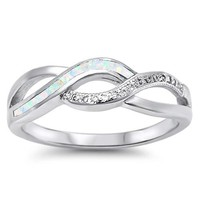 Sterling Silver Created White Opal Inlay & CZ Infinity Swirl Ring