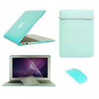 """TopCase Macbook Air 13"""" (A1369 and A1466) 5 in 1 Bundle - Turquoise Blue Crystal Hard Case Cover + Matching Color Soft Sleeve Bag +Wireless Mouse + Transparent TPU Keyboard Cover + LCD HD Clear Screen Protector With TopCase Mouse Pad"""