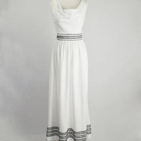 Vintage 1970s Grecian Goddess Dress White With Black Embroidered Border Trim Maxi