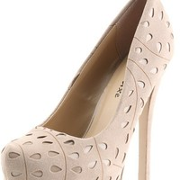 Styluxe Monet Taupe Perforated Teardrop Platform Pumps Shop Shoes at MakeMeChic.com
