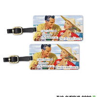 Expect Things Funny Retro Woman Metal Luggage Tag Set Printed Personalized Custom Info On Back , 2 Tags Choice of Straps
