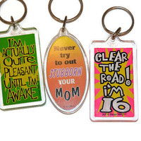 Set Of 5 Vintage Funny Keychains, Best Friend Gift, Vintage Collectible Keychain, Vintage Keychains, Whatever Keychain, Gifts For Everyone