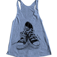 SNEAKERS Women Tank Top American Apparel Triblend Racerback Tank Top Hand Screen Printed 6 Color Available