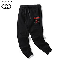 GUCCI New fashion embroidery letter stripe couple pants Black