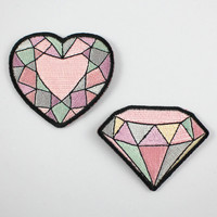 Gemstone Patches – Set of 2 – Diamond & Heart Gem Embroidered Patches / Iron-On Appliques - Pastel