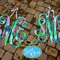"Set of 2 preppy 24"" Interlocking Wooden Initials Monogram Cutout Hand Painted inspired by Lilly Pulitzer prints, bedding, dorm rooms"
