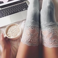 Delilah Floral Lace Thigh High Socks (GREY)