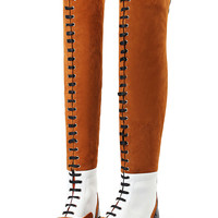 Brown Lace Up Contrast Suede Over The Knee Boots