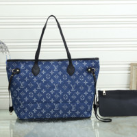 Louis Vuitton LV Women Leather Tote Handbag Shoulder Bag Purse Wallet Set Two-Piece