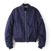 Navy Blue Womens Girls Comfortable Jacket Autumn Winter Air Force Style Coat Outwear Gift 159