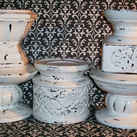 5 Chippy White Shabby Chic Pillar Candle Holders