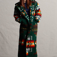 Native American Jacket, Reversible Wool Long Coat in Forest, Made with Genuine Pendleton® Wool Fabric