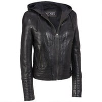Milwaukee Leather 7th Avenue Hooded Leather Jacket w/ Stitching Detail - Motorcycle Gear - Women's & Plus Size - Wilsons Leather