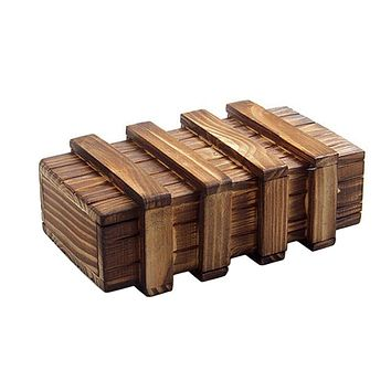 Magic Compartment Wooden Puzzle Box With Secret Drawer Brain Teaser Educational Toy