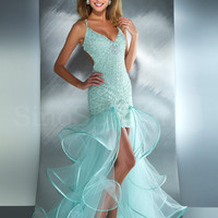 Amazing light Sky Blue Sheath/Column V-neck Neckline Asymmetrical Prom Dress-SinoSpecial.com