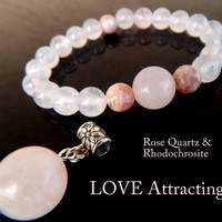 Love Attraction Bracelet, Gift: Rose Quartz Pendant, Gemstones for Love, Rose Quartz, Rhodochrosite, Healing Jewelry, FREE SHIPPING