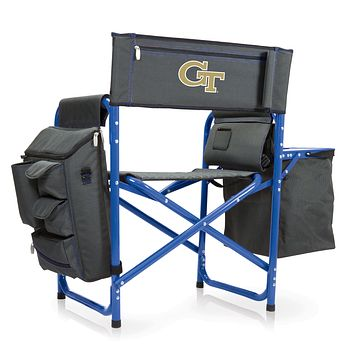 Georgia Tech Yellow Jackets - Fusion Backpack Chair with Cooler, (Dark Gray with Blue Accents)