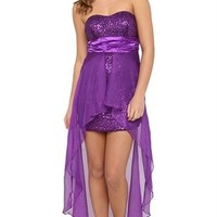 Strapless High Low Dress with Sequin Trim