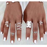 Summer Beach Bohemian Metal Ring Set 8Pcs