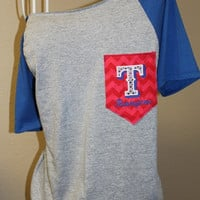 Texas Rangers Pocket OfftheShoulder Shirt by SewSnazzybyBrook
