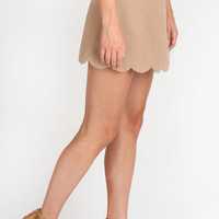Lacey Taupe Scallop Mini Skirt