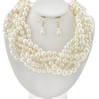 Large cream braided Pearl necklace earrings set