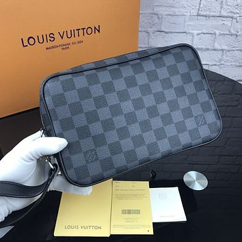 LV 2018 new men's high quality casual business wind canvas zipper hand clasp clutch Black check