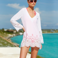 Kenneth Cole Reaction Long-Sleeve Laser-Cut Tunic Cover-Up