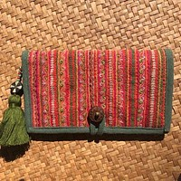Hmong Hill Tribe Long Wallet | Upcycled Embroidered Cotton Fabric