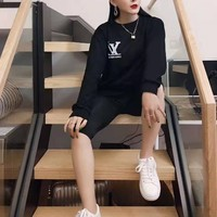 """""""Louis Vuitton"""" Women Casual Simple Reflective Letter Logo Print Round Neck Long Sleeve Sweater Tops"""