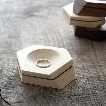 Handcrafted ring dish made from poplar or walnut wood with aluminum striping