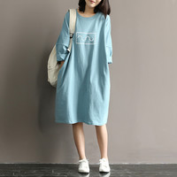 Summer 2016 Women Cotton T-shirt Dress Mori Girl Style Loose Round Neck  Batwing Sleeve Midi Long Dress Robe Femme Vestidos