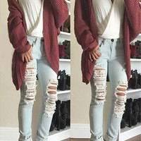 Cupshe State Of Mind Wine Sweater Cardigan