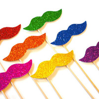 Rainbow Glitter Mustaches on a Stick - Set of 7 - Rainbow Mustache Photo Booth Props