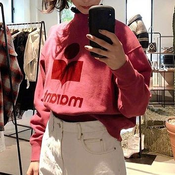 Women Casual Retro Wine Red Letter Print Long Sleeve Sweater Tops