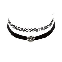 Black Tattoo & Velvet Choker Necklaces - 2 Pack by Charlotte Russe